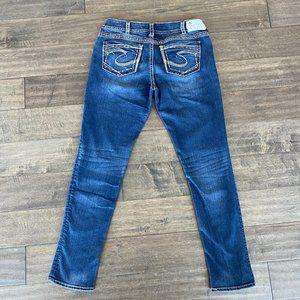 Silver Jeans SUKI SKINNY Dark Wash Thick Stitch